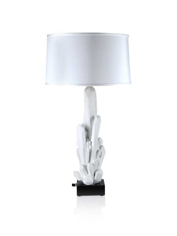 FACETTE CLUSTER LAMP-WHITE W/WHITE SHADE