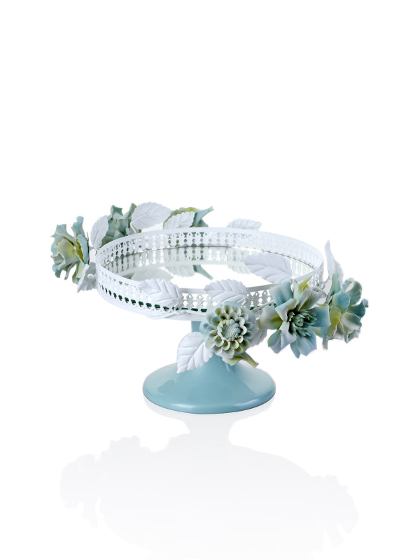 ROUND CENTERPIECE W/ MIRROR WHITE METAL , ALL FLOWERS LIGHT