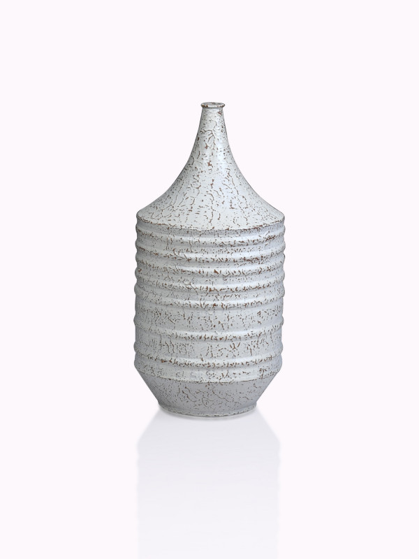 ANTIQUE WHITE METAL VASE