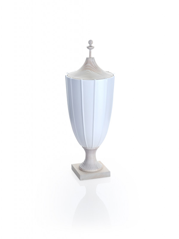 CRENULATED TALL URN - MATTE WHITE