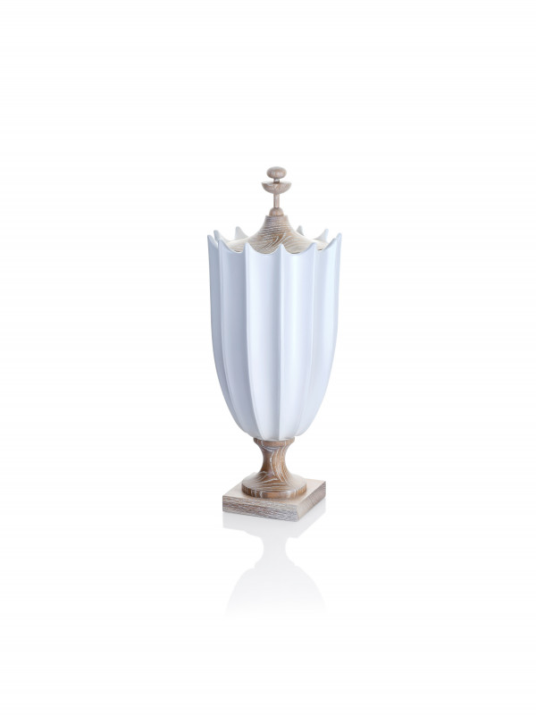 GRANDE CRENULATED URN- MATTE WHITE