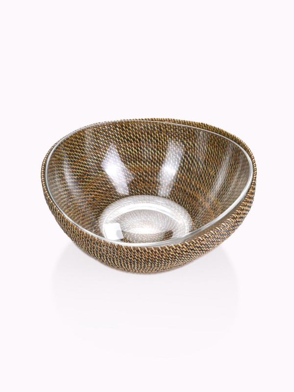 ROUND BOWL W/ CRESCENT GLASS, LARGE, INCLUDES GLASS CRESCENT