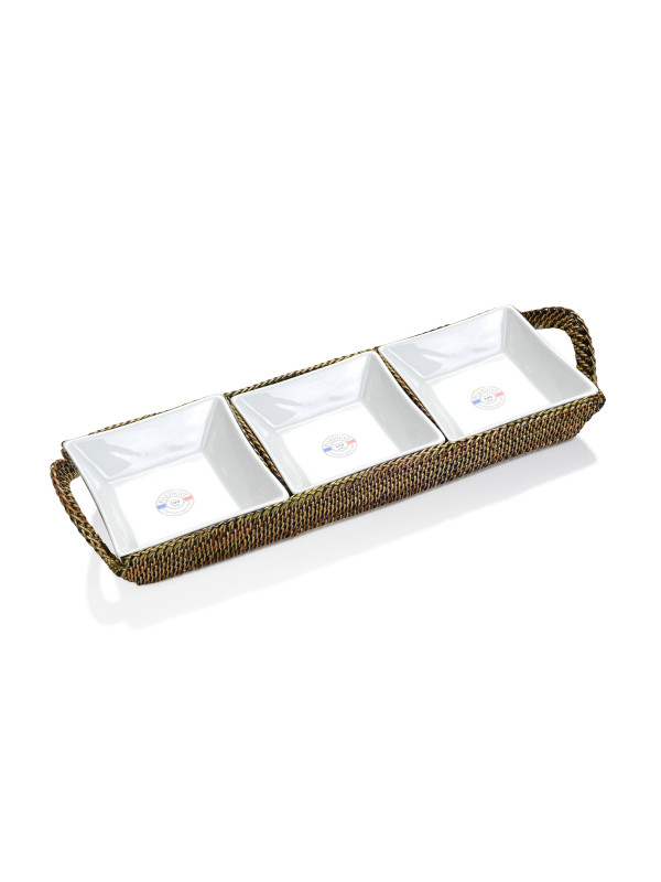 RECTANGULAR TRAY W/ 3 DIVIDERS INCLUDES PILLIVUYT 3 SQUARE D