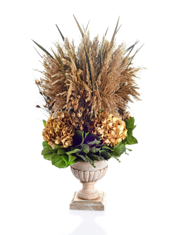 WOODEN WEATHERED RIBBED URN - GRASS PLUMES NATURAL & HYDRANG